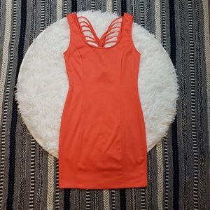 Charlotte Russe Coral Cross String Back Dress